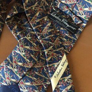 Salvatore Ferragamo Silk Tie w/ Rowing Crew Design